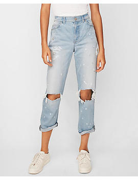 High Waisted Flower Destroyed Original Girlfriend Jeans by Express