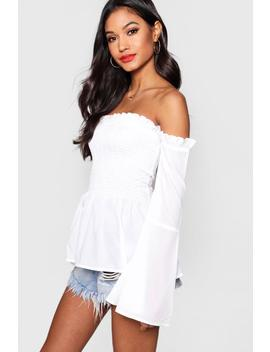 Faye Shirred Off The Shoulder Top by Boohoo