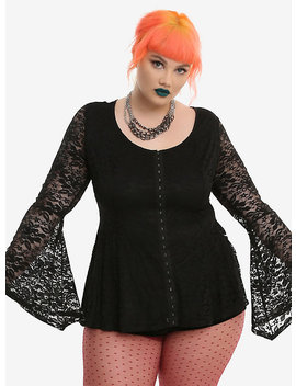 Black Lace Bell Sleeve Girls Peplum Top Plus Size by Hot Topic