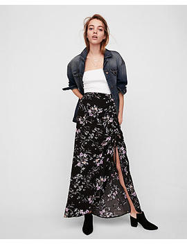 Floral Ruched Side Maxi Skirt by Express