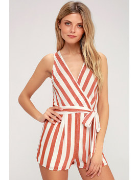 Pier Pleasure Red And White Striped Romper by Lulus