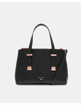 Adjustable Handle Small Leather Tote Bag by Ted Baker