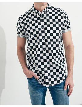 Short Sleeve Stretch Checkerboard Poplin Shirt by Hollister