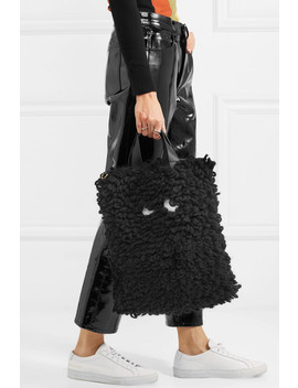 Leather Trimmed Wool Shoulder Bag by Anya Hindmarch