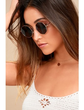 Memory Lane Gold And Black Sunglasses by Lulus