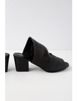 Yanna Black Leather Mules by Lulu's