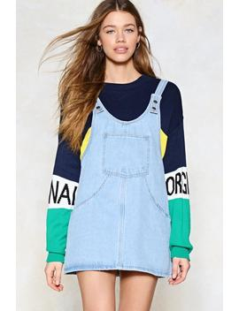 Day Tripper Denim Pinafore Dress by Nasty Gal