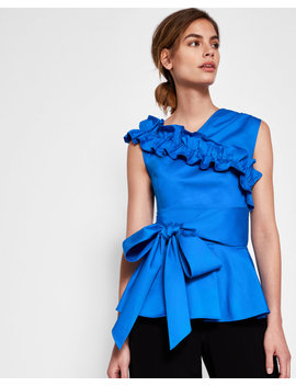 Ruffle And Bow Peplum Top by Ted Baker