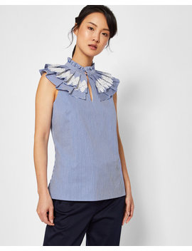 ruffle-high-neck-cotton-top by ted-baker