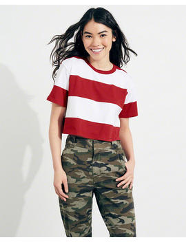 Stripe Crop Boyfriend T Shirt by Hollister