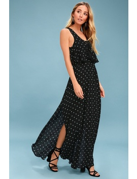 Phaedra Black Print Lace Up Maxi Dress by Lulus