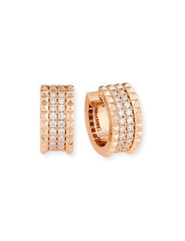 Roberto Coin Rock & Diamonds 18 K Rose Gold Huggie Earrings by Roberto Coin