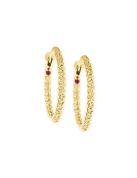 Xs Pave Diamond Hoop Earrings by Roberto Coin