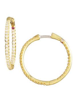 Pave Diamond Hoop Earrings by Roberto Coin