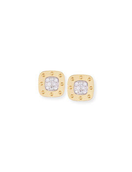 Pois Moi 18k Square Diamond Stud Earrings by Roberto Coin