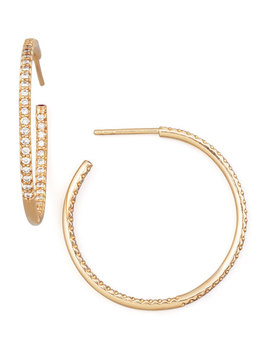 30mm Rose Gold Diamond Hoop Earrings, 0.98ct by Roberto Coin