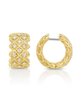 Barocco Three Row Huggie Earrings With Diamonds In 18 K Gold by Roberto Coin