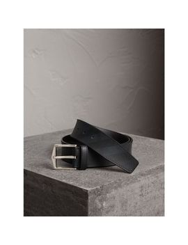 Leather Trim London Check Belt by Burberry