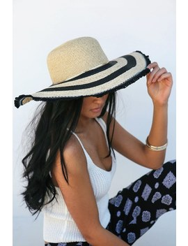 Castle Hill Black And Beige Floppy Straw Hat by San Diego Hat Co.