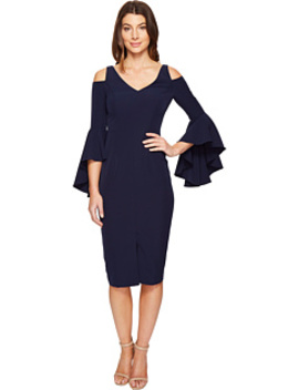 Cold Shoulder Sheath Dress With Ruffle Sleeve by Maggy London