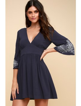 Isles Navy Blue Embroidered Bell Sleeve Dress by Lulus