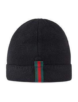 Kids' Knit Web Trim Beanie Hat, Black by Gucci