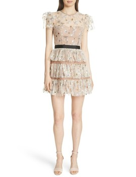 Sequin Mesh Tiered Dress by Self Portrait