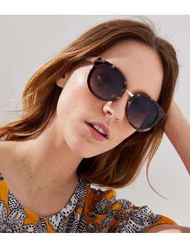 Metallic Trim Tortoiseshell Print Cateye Sunglasses by Loft