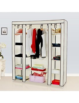 """Songmics 59"""" Portable Clothes Closet Wardrobe Storage Organizer With Non Woven Fabric, Quick And Easy To Assemble, Extra Strong And Durable, Beige Ulsf03 M by Songmics"""