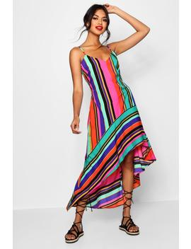 Isabelle Asymmetric Bold Stripe Maxi Dress by Boohoo