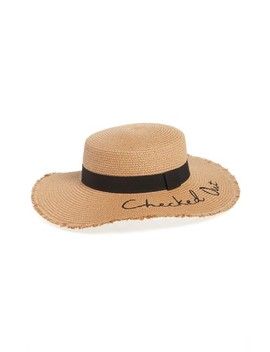 Verbiage Frayed Edge Straw Boater Hat by Bp.