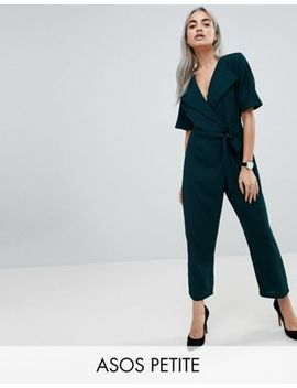Asos Design Petite Wrap Jumpsuit With Self Belt by Asos Petite