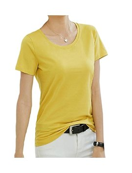 Yuny Womens Round Neck Solid Colored T Shirts Short Sleeve Tunic by Yuny