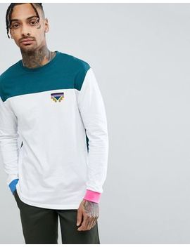 Asos Design Relaxed Long Sleeve T Shirt With Color Block Detail And Geo Tribal Chest Print by Asos