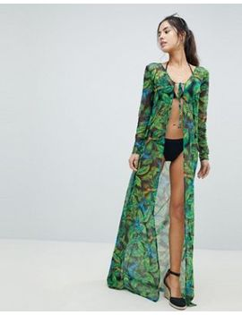 Pretty Little Thing Tropical Maxi Beach Cover Up by Pretty Little Thing