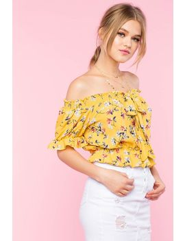 Bow Front Floral Off Shoulder Top by A'gaci