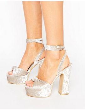 Public Desire Elaura Cream Velvet Platform Heeled Sandals by Public Desire