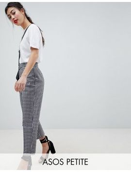 Asos Design Petite Tailored Gingham Tapered Pants With Belt And Buckle Detail by Asos Design