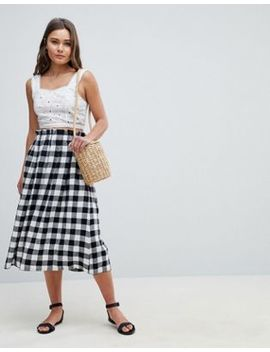 Asos Design Tailored Linen Prom Skirt In Check by Asos Design