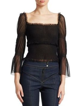 Adelaide Smocked Mesh Top by Cinq à Sept