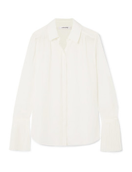 Pleated Crepe De Chine Shirt by Frame