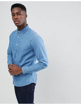 Stradivarius Denim Shirt In Mid Blue by Stradivarius