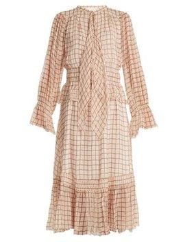 Grid Print Silk Georgette Midi Dress by Chloé