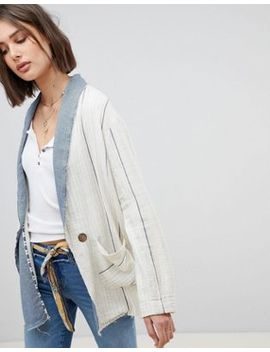 Free People Aria Linen Blazer In Stripe by Free People