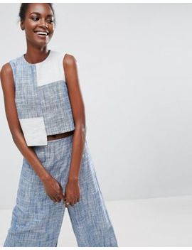 Asos Made In Kenya Crop Top In Chambray by Asos Made In Kenya
