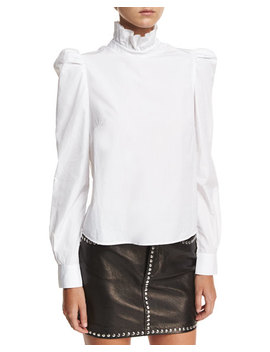 Ruffled Neck Button Back Poplin Shirt by Frame