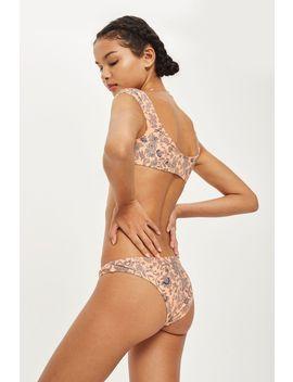 Paisley Tie Front Crop Bikini Top by Topshop