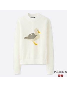 Women J.W.Anderson 100 Percents Cotton Crew Neck Seagull Sweater by Uniqlo