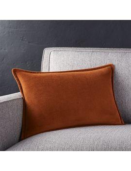 """Brenner Rust 18""""X12 """" Velvet Pillow by Crate&Barrel"""
