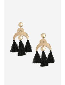 **Moon And Disc Tassel Drop Earrings by Topshop
